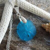 Handmade in Hawaii, Sand dollar sea glass necklace ,Beach glass necklace,925 ste