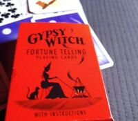 Vintage Halloween Gypsy Witch Fortune Telling Playing Cards Black Cat
