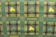 JOHN DEERE PLAID SQUARES TRACTORS YELLOW GREEN BLACK FLANNEL FABRIC ~NEW ~BTY