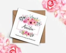 PERSONALISED rustic wedding blush pink wild flower frame Bridesmaid card invite
