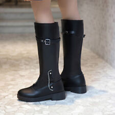 New Stylish Winter Women Round Toes Low Heels Casual Mid-Calf Boots Shoes Fgg66