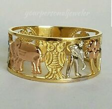 Solid 14k Yellow white rose Gold 7 horseshoe elephant clover 7 good luck ring S8