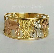 Solid 14k Yellow white rose Gold 7 horseshoe elephant clover 7 good luck ring S8