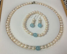 Real White Akoya Cultured Pearl & Blue Aquamarine Necklace Bracelet Earrings Set