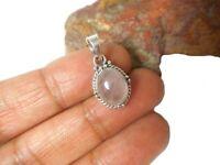 Pink Oval  Rose  Quartz Sterling  Silver  925 Gemstone  Pendant