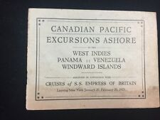 Vintage Shore Excursion Brochure Canadian Pacific Steamship SS Empress Britain