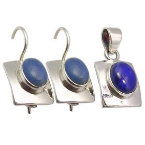 Matching Set !! 925 Sterling Silver Natural LAPIS LAZULI Hook Earrings Pendant