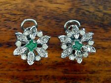 Vintage palladium ART DECO ANTIQUE COLOMBIAN EMERALD DIAMOND FLOWER earrings