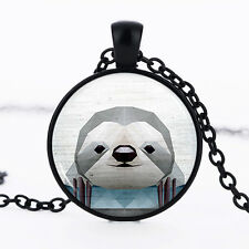 Sloth photo Black Dome Glass Cabochon Necklace chain Pendant #466