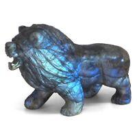 "3.5"" Lion Statue Natural Gemstone Labradorite Crystal Carved Animal Figurine #36"