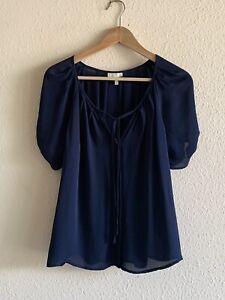 Joie Women's Short Sleeve Silk Berkeley Blouse in Navy Size M