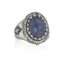 NEW Scott Kay BLUE CHALCEDONY & WHITE SAPPHIRE Sterling Silver RING Sz 6 w/ Tags