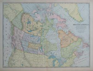 Original 1899 Map BRITISH AMERICA Canada Newfoundland Ungava Athabasca Keewatin