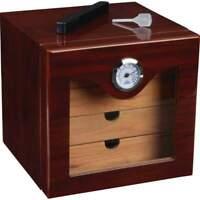 Cherry High Gloss Cedar Lined 4 Cigar Selves Cigar Humidor - External Hygrometer