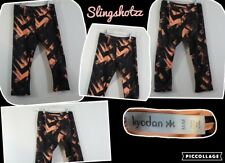 "*Kyodan* Wmn's ""M"" Black/Orange Geometric Poly Pull-on 'Fitted' Athletic Capris"