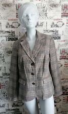 Jobis Beige Mix Tweed style wool blend printed patch sleeve  jacket size 18 UK