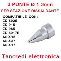 3x PUNTE N5-3 UGELLO Ø 1,3mm PER PISTOLA STAZIONE ZD-8925 ZD-915 ZD-985 ZD-8917B
