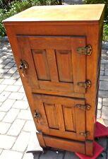 Beautiful Apartment Size Antique Raised Panel Original Stain Oak Icebox • Estate