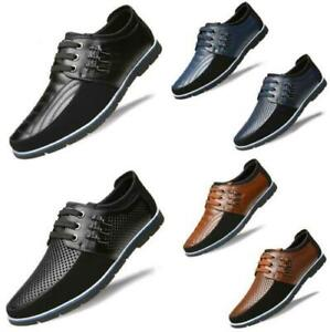 Men Casual Genuine Leather Loafers Shoes Lace-up British Oxford Shoes Breathable