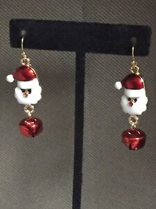 Christmas Santa With Red Bell Charm Hook Earrings Jewelry Holiday Gift