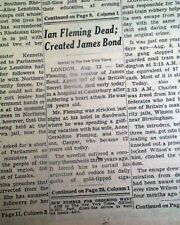 Ian Fleming Creator of James Bond Agent 007 Spy Novels Death 1964 Old Newspaper