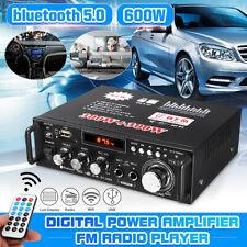 600 Watts HIFI Audio Stereo bluetooth FM 2-Channel LCD Amplifier Car Home USB d