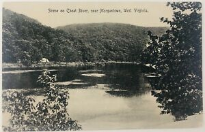 Vintage Morgantown West Virginia WV RPPC Scene on Cheat River Postcard 1911