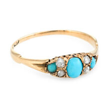 Antique Victorian Turquoise Diamond 18k Gold Ring Vintage Fine Jewelry Heirloom