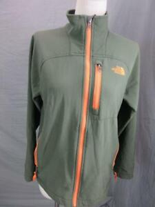 THE NORTH FACE SIZE L(14-16)BOYS GREEN ZIP POCKETS OUTDOOR SOFTSHELL JACKET T371