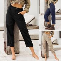 Mode Femme Pantalon Simple Décontracté lâche Loisir Coton Taille elastique Plus
