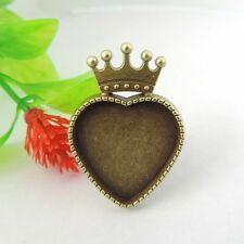 6pcs Antique Bronze Alloy Heart Crown Adjustable Cameo Setting Ring 17*17mm