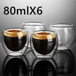 Handmade Double Wall Glass Cup Heat Resistant Mug Beer Espresso Coffee Clear Set