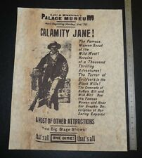 FAC-SIMILE AFFICHETTE 1896 KOHL & MIDDLETON PALACE MUSEUM CALAMITY JANE FAR-WEST