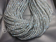 Labradorite moonstone micro faceted rondelle beads gemstone 3-4mm 1strand 13inch