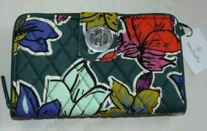 New Vera Bradley RFID Turn Lock Zip Around Wallet in cotton Falling Flowers $54