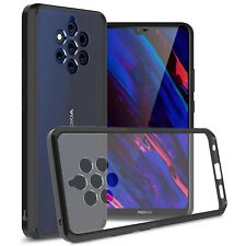 Clear With Black Trim Hard Slim Fit Back Cover Phone Case for Nokia 9 PureView