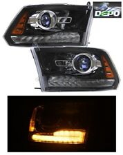 2009-2012 Dodge Ram 1500 Single Lamp BLACK Projector Head Lights DEPO LED DRL