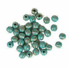 10pcs Vintage Bronze Verdigris Ball Bead Spacer Screw Thread DIY Bracelet