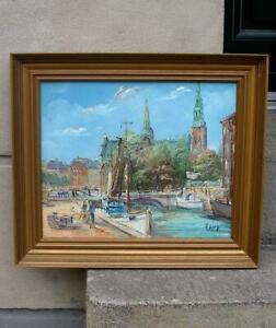 Axel Lang Olsen (1931) Holmens Canal. Central Copenhagen. Impressionist oil.