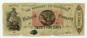 1862 25c The Mississippi and Tennessee Railroad Company - MISSISSIPPI Note