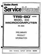 Radio Shack TRS-80 Model 100 Service Manual * PDF * CDROM * 26-3801