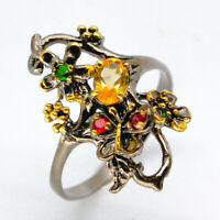18k Gold Plated Natural Citrine Gemstone 925 Sterling Silver Ring/ RVS93