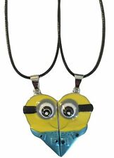 """Despicable Me Minions Movie BFF Heart Shaped Pendant Set on 18"""" Leather Cords"""