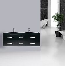 VANITY BATHROOM 1500mm Wall Mount UNIT Black WITH FREE FAUCET New