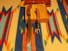 Antique Carving Set with Deer Horn Handles
