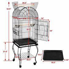 "63"" Rolling Open Top Sturdy Bird Cage with Detachable Stand Cockatiel Macaw Home"