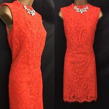 DEFINITIONS Dress Size 16 Orange Lace Shift Occasion Evening party  C843