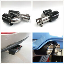 1 Pcs Real Carbon Fiber ID 3'' OD 4'' h Shape Car Exhaust Dual Pipe Muffler Tip