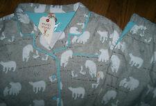 NWT Munki Munki Gray/Aqua Cotton FLANNEL Pajama Shirt/Pants Set POLAR BEARS M