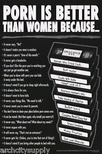 POSTER : COMICAL : PORN IS BETTER THAN WOMEN BECAUSE..  FREE SHIP #3427  RP73 S